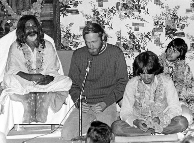 Maharishi Mahesh Yogi, Mike Love, George Harrison, and Ringo Starr