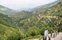 Staff from the Khyber Pakhtunkhwa forest department overlook the forest in Swat valley, northwestern Pakistan