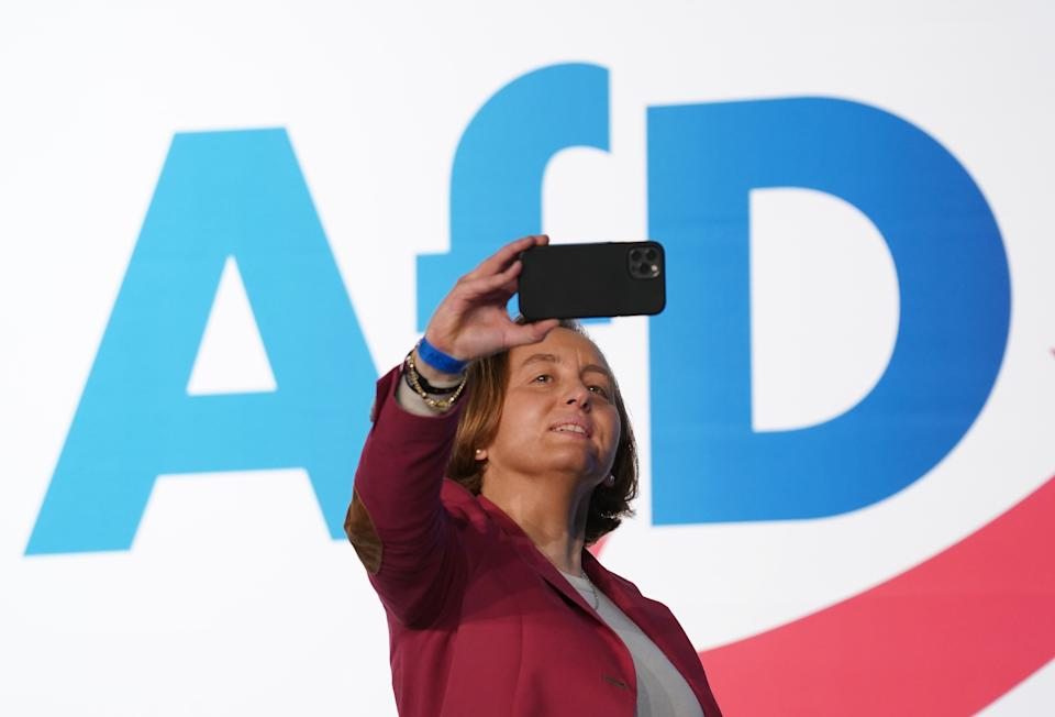 DRESDEN, GERMANY - APRIL 10: Leading member of the right-wing Alternative for Germany (AfD) political party Beatrix von Storch shoots a selfie as she attends the AfD federal party congress on April 10, 2021 in Dresden, Germany. AfD delegates are meeting ahead of German federal elections scheduled for September. The party is launching its political election campaign under the motto