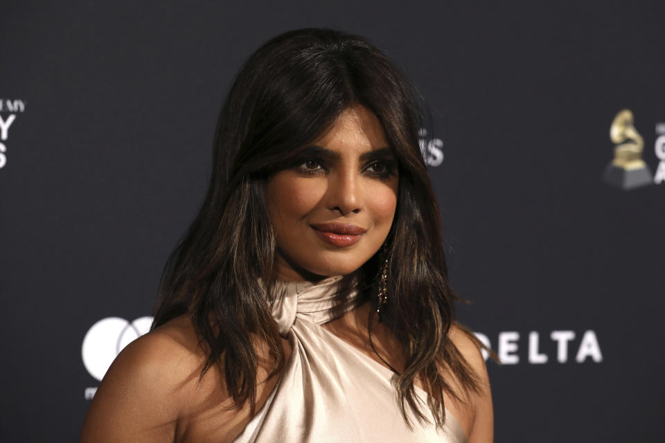 Priyanka Chopra Jonas arrives at the Pre-Grammy Gala And Salute To Industry Icons at the Beverly Hilton Hotel on Saturday, Jan. 25, 2020, in Beverly Hills, Calif. (Photo by Mark Von Holden/Invision/AP)