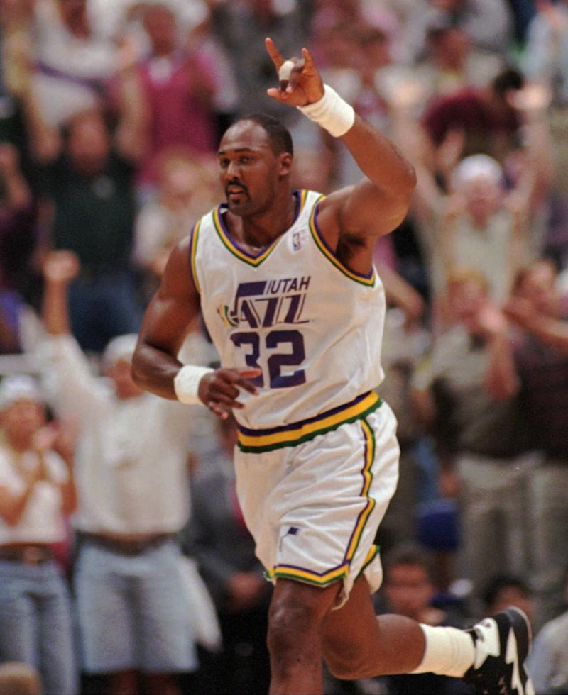 Karl Malone with the Jazz in 1996. (AP)