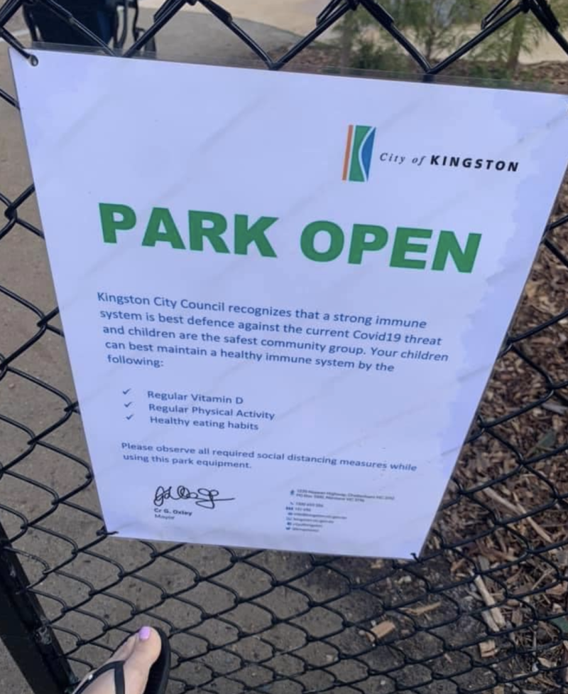 A fraudulent sign at a playground in Victoria falsely telling the public in the City of Kingston council area it was open.