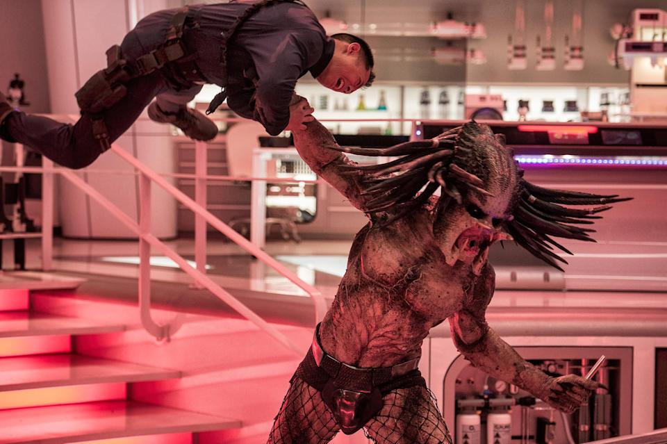 The trophy-collecting Predator escapes a government facility in Shane Black's reboot of the franchise. (Photo: Kimberly French/Twentieth Century Fox Film Corporation)