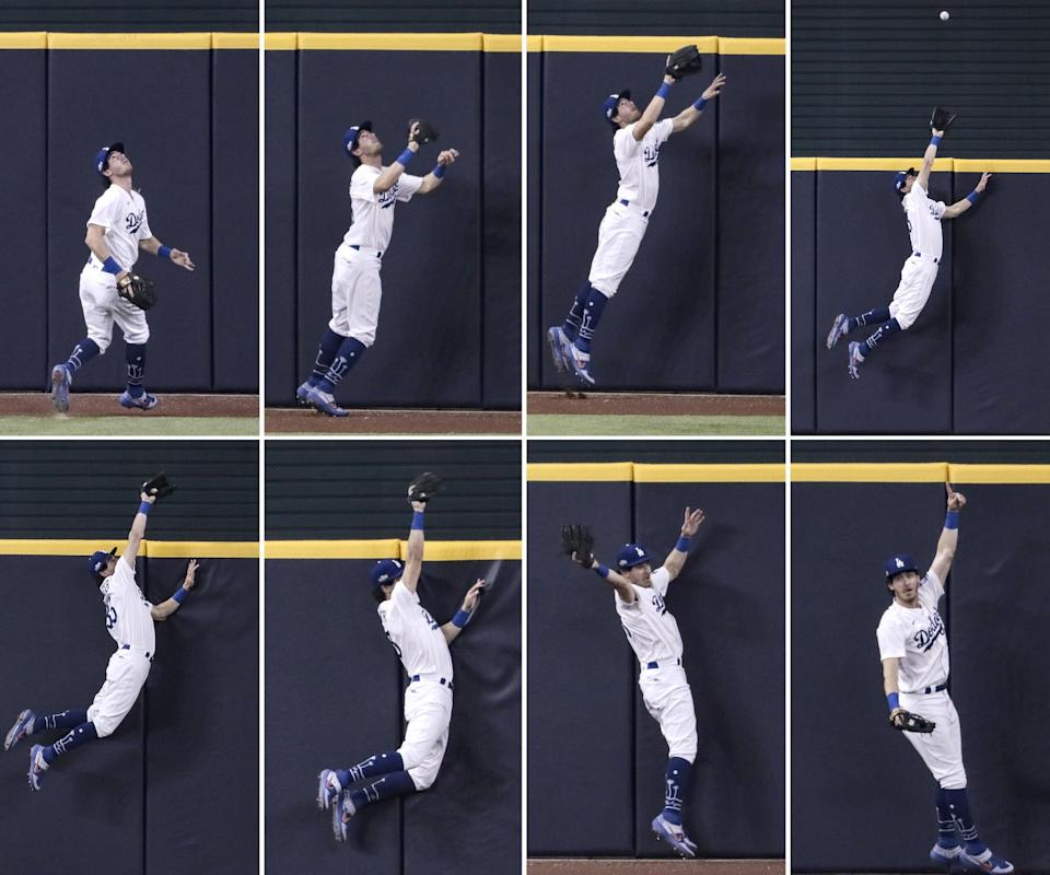 Dodgers center fielder Cody Bellinger robs San Diego's Fernando Tatis Jr. of a home run during Game 2 of the NLDS.