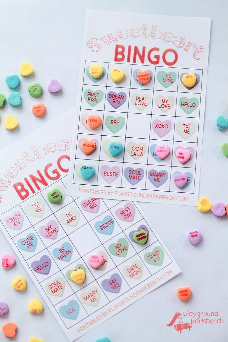 """<p>Family game night just got so much sweeter thanks to this version of Bingo that uses <a href=""""https://www.countryliving.com/entertaining/advice/a288/necco-sweethearts-candy/"""" rel=""""nofollow noopener"""" target=""""_blank"""" data-ylk=""""slk:conversation hearts"""" class=""""link rapid-noclick-resp"""">conversation hearts</a>.</p><p><strong>Get the tutorial at <a href=""""https://playgroundparkbench.com/conversation-hearts-valentine-bingo/"""" rel=""""nofollow noopener"""" target=""""_blank"""" data-ylk=""""slk:Playground Parkbench"""" class=""""link rapid-noclick-resp"""">Playground Parkbench</a>.</strong></p><p><a class=""""link rapid-noclick-resp"""" href=""""https://www.amazon.com/Cup-Small-Conversation-Hearts-Pound/dp/B082YH1PQX/?tag=syn-yahoo-20&ascsubtag=%5Bartid%7C10050.g.25916974%5Bsrc%7Cyahoo-us"""" rel=""""nofollow noopener"""" target=""""_blank"""" data-ylk=""""slk:SHOP CONVERSATION HEARTS CANDIES"""">SHOP CONVERSATION HEARTS CANDIES</a></p>"""