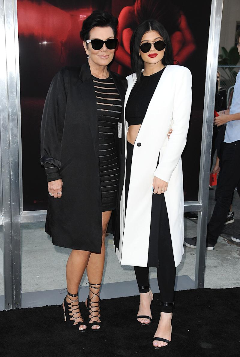 Kylie once told us her mom is her style icon — so it makes sense they would pair up on the red carpet, too. Here, Kylie Jenner wears a Cushnie et Ochs top with Alaïa leggins and a Kimora Lee Simmons coat for the premiere of The Gallows in Los Angeles, California, July 2015.