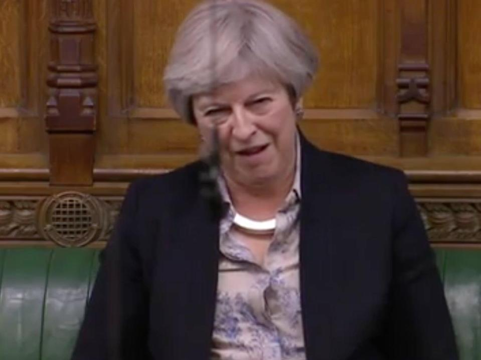 Theresa May looks around her in disbelief as Michael Gove claims UK security could improve if it fails to retain access to shared databases (ParliamentLive screengrab)