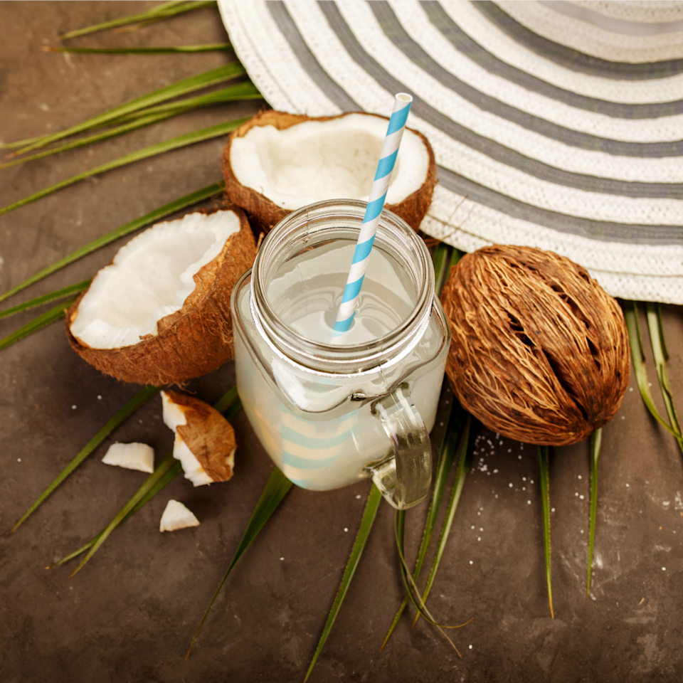 """<p>Dietitian <a target=""""_blank"""" href=""""http://tmbrd.com/"""">Thérèse Bonanni, R.D.</a>, recommends coconut water as an alternative to sugary sports drinks. Loaded with potassium and a good source of other key nutrients like sodium, magnesium, and phosphorous, it's her go-to sip for """"a natural source of electrolytes without added sugar to replenish and hydrate.""""</p>"""