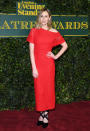 <p>The 'Downton Abbey' star was unmissable in a vibrant red dress. <i>[Photo: Getty]</i> </p>