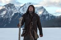 """<p>All DiCaprio had to do to finally win an Oscar was get attacked by a bear, sleep in a horse carcass, and almost freeze himself to death. That is just a bit of why frontiersman Hugh Glass is easily Leo's most ambitious, determined, and grueling performance. And while most actors don't end up winning for their best work, and that's certainly the case for DiCaprio, this was no career achievement award. </p> <p><b>Related: </b><a href=""""https://ew.com/article/2015/12/16/leonardo-dicaprio-the-revenant-filming/"""" rel=""""nofollow noopener"""" target=""""_blank"""" data-ylk=""""slk:Leonardo DiCaprio describes grueling conditions while making The Revenant"""" class=""""link rapid-noclick-resp"""">Leonardo DiCaprio describes grueling conditions while making <i>The Revenant</i></a> </p>"""