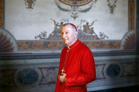 Newly elected cardinal and Vatican State Secretary Pietro Parolin of Italy arrives to receive guests in the Apostolic palace at the Vatican February 22, 2014. REUTERS/Max Rossi