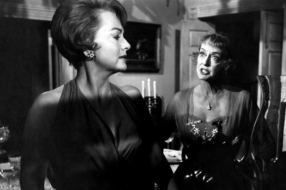 """<p><strong><em>Hush ... Hush, Sweet Charlotte</em></strong></p><p>The arrival of a lost relative sends an aging Southern belle (Bette Davis) into madness.</p><p><a class=""""link rapid-noclick-resp"""" href=""""https://www.amazon.com/Hush-Hush-Sweet-Charlotte-Bette-Davis/dp/B000I9W0AG/?tag=syn-yahoo-20&ascsubtag=%5Bartid%7C10055.g.29120903%5Bsrc%7Cyahoo-us"""" rel=""""nofollow noopener"""" target=""""_blank"""" data-ylk=""""slk:WATCH NOW"""">WATCH NOW</a></p>"""