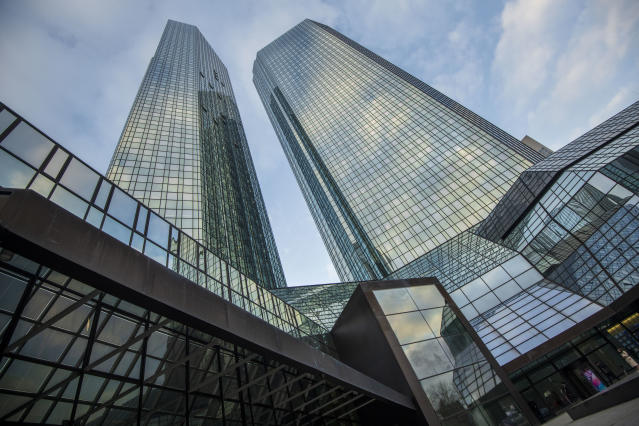 The headquarters of the Deutsche Bank in Frankfurt, Germany. (Thomas Lohnes/Getty Images)