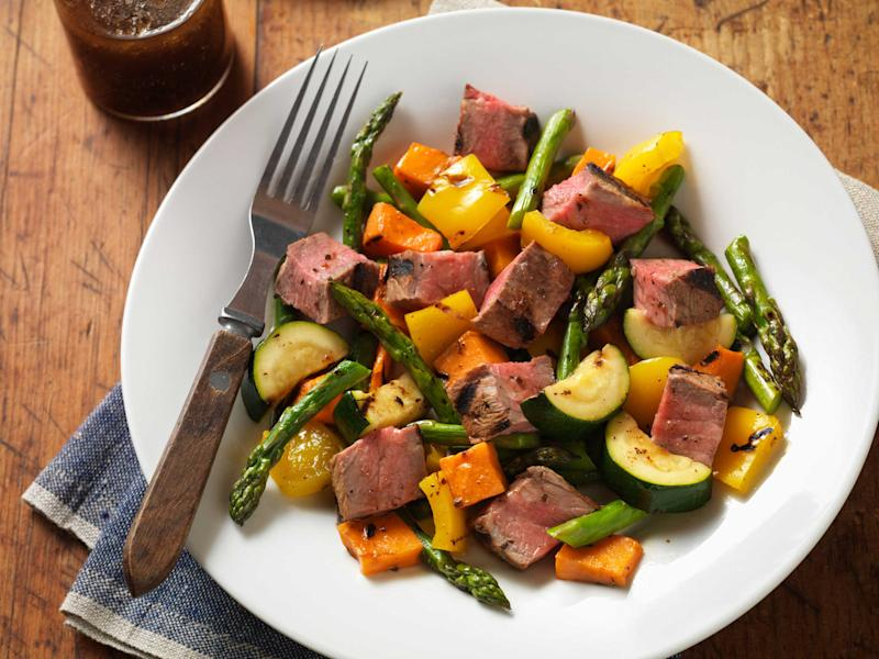 Take your salad over the top with delicious and tender Strip Steak bites.