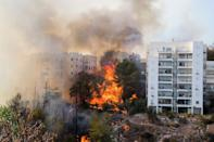 Flames 10 metres (more than 30 feet) high were threatening several multi-storey tower blocks in Haifa (AFP Photo/Jack Guez)