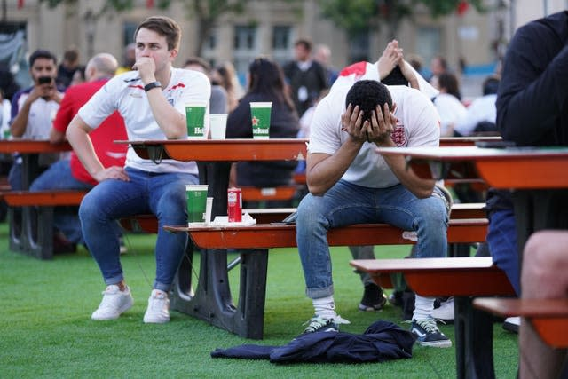 England fans in Trafalgar Square reacted to the opener