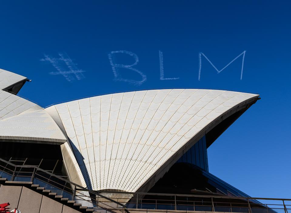 #BLM is written in skywriting ahead of the Sydney rally. Source: AAP