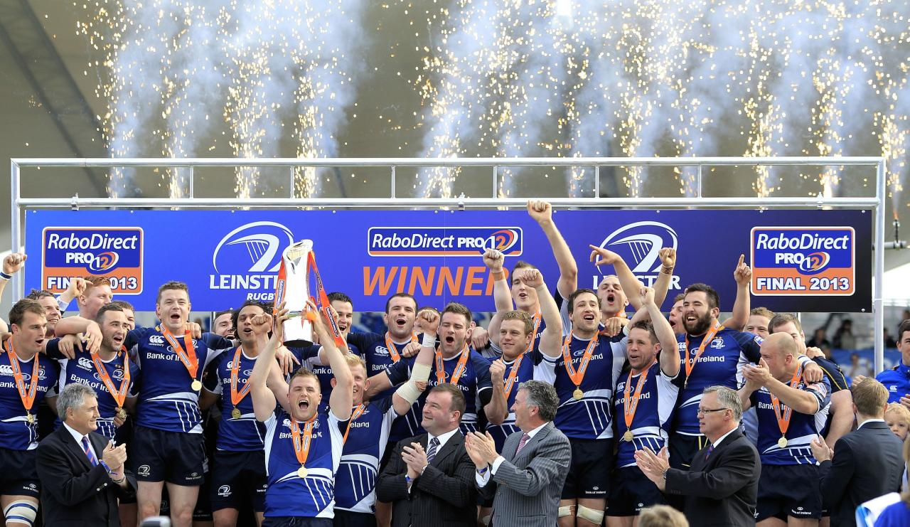 Leinster players celebrate with the trophy during the RaboDirect PRO12 Final at the RDS, Dublin, Ireland.