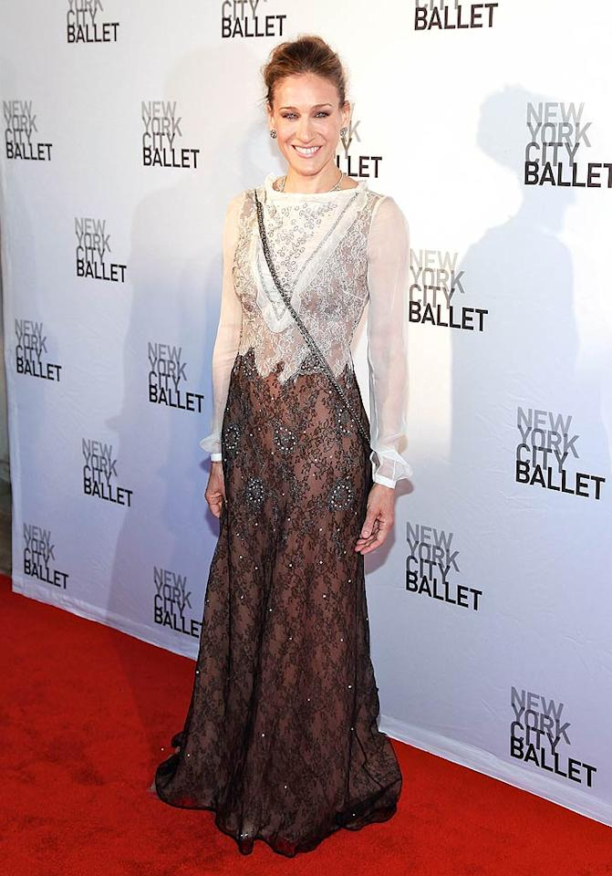 """A few days later, SJP delivered a second fashion faux pas upon arriving at the New York City Ballet spring gala in an unflattering, overly-embellished Valentino frock and improperly-placed purse. Charles Eshelman/<a href=""""http://www.filmmagic.com/"""" target=""""new"""">FilmMagic.com</a> - May 11, 2011"""