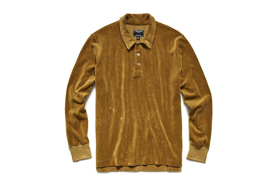 """$148, Todd Snyder. <a href=""""https://www.toddsnyder.com/collections/new-arrivals/products/velour-polo-ocre"""" rel=""""nofollow noopener"""" target=""""_blank"""" data-ylk=""""slk:Get it now!"""" class=""""link rapid-noclick-resp"""">Get it now!</a>"""