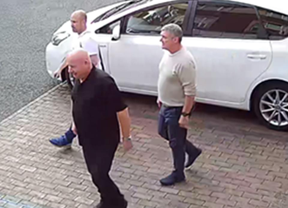 Undated handout photo issued by Cheshire Constabulary of (left to right) Thomas Mee, 42, Vincent Ball, 52, and John Barlow, 58, arriving at a hotel in Derby where they stayed before committing a burglary in Barnby Moor. The three men have all been jailed after a burglary spree which targeted houses belonging to footballers and celebrities, including Manchester City star Raheem Sterling.