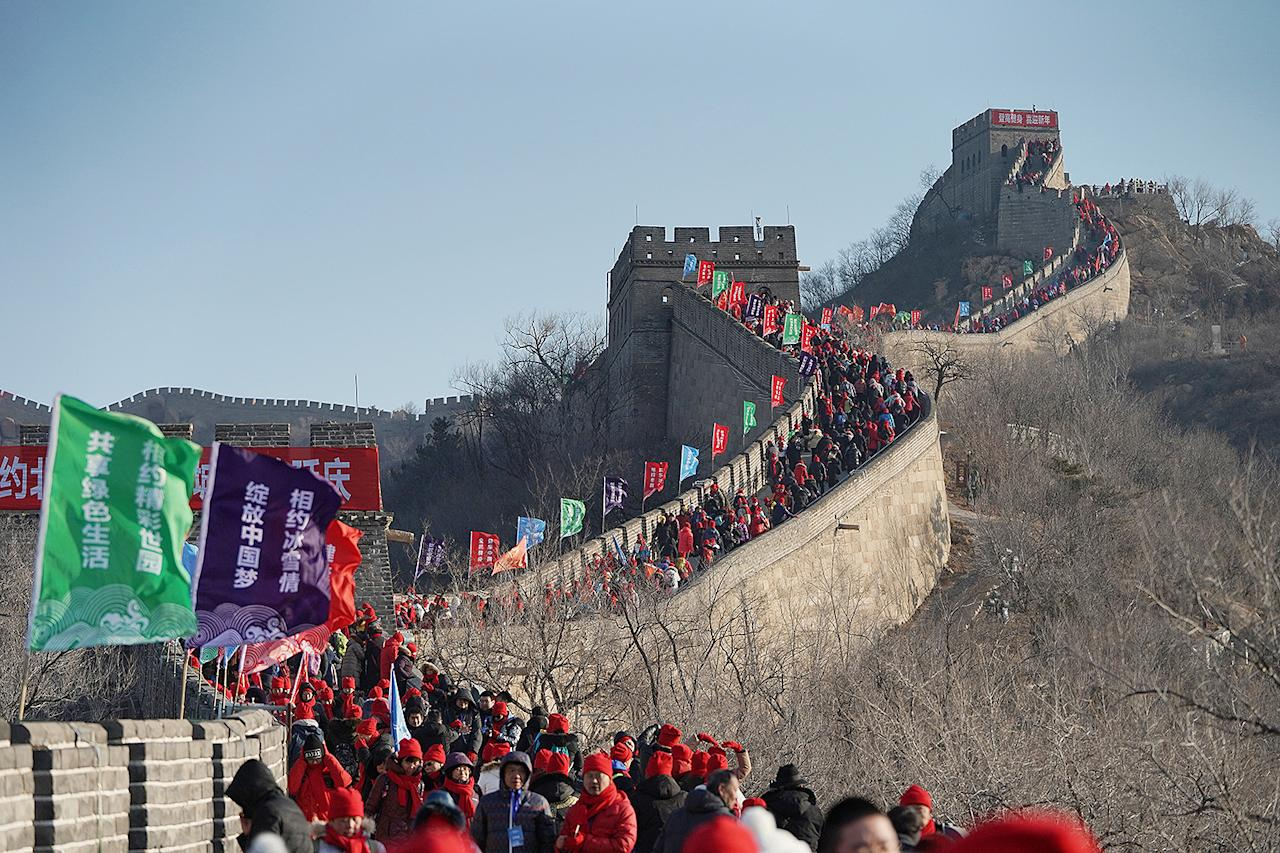 <p>Hundreds are seen walking along the Great Wall of China to celebrate the New Year on Jan. 1, 2020.</p>