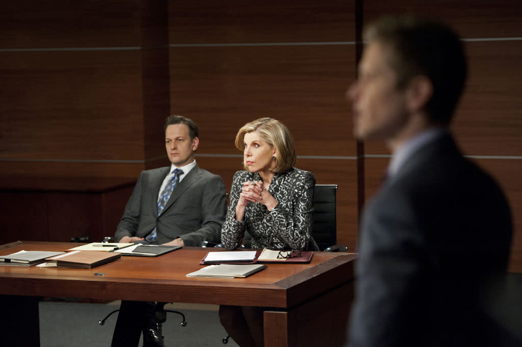 """Red Team/Blue Team"" -- Things get tense when Will (Josh Charles) and Diane (Christine Baranski) face off against Cary (Matt Czuchry) and Alicia after a client asks the firm to go through a mock trial to test their case, on ""The Good Wife."""