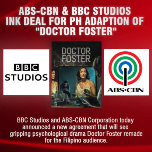 Filipino audiences can look forward to the adaptation of 'Doctor Foster' into a Filipino series