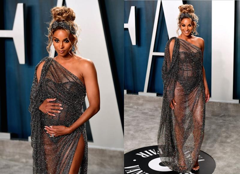 Ciara showed off her pregnancy style prowess at last night's Vanity Fair party after the Oscars (Getty)