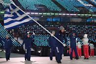 "<p>Flag bearer Sophia Ralli of Greece leads the team, who all wear a monochromatic navy winter outfit with ""Hellas"" printed on the trousers during the opening ceremony of the 2018 PyeongChang Games. (Photo: Quinn Rooney/Getty Images) </p>"