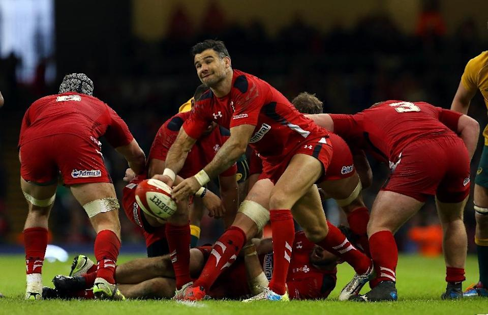 Wales' Mike Phillips, in action on November 8, 2014, retires from international rugby (AFP Photo/Geoff Caddick)