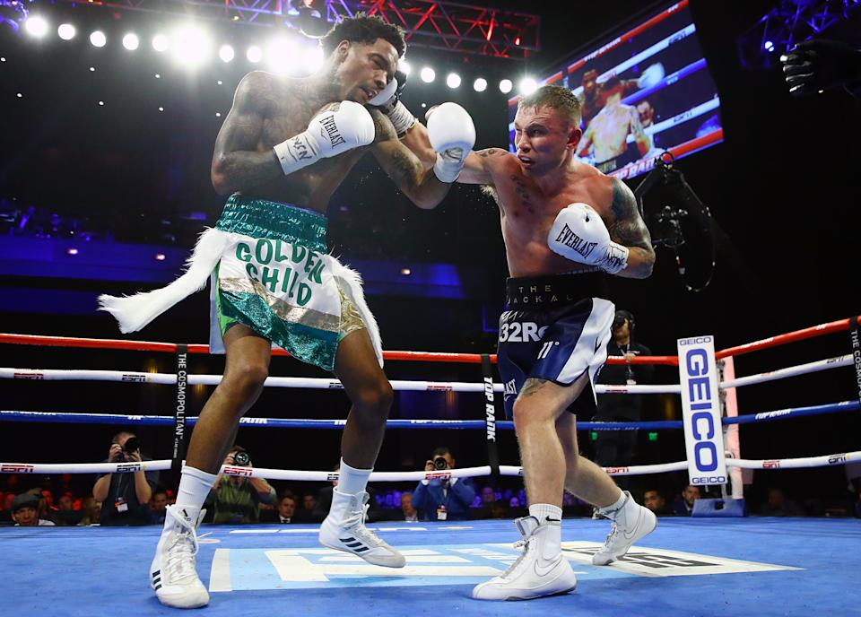 Carl Frampton (R) fought for the first time in a year on Saturday after a freak injury to his left hand. (Mikey Williams/Top Rank)