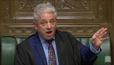 Speaker of the House John Bercow speaks in Parliament, in London, Britain, March 18, 2019, in this screen grab taken from video. Reuters TV via REUTERS