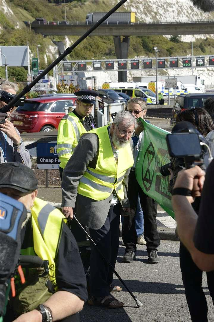 The 91-year-old was among those arrested and charged during the Extinction Rebellion climate emergency protest at Dover Docks. (SWNS)