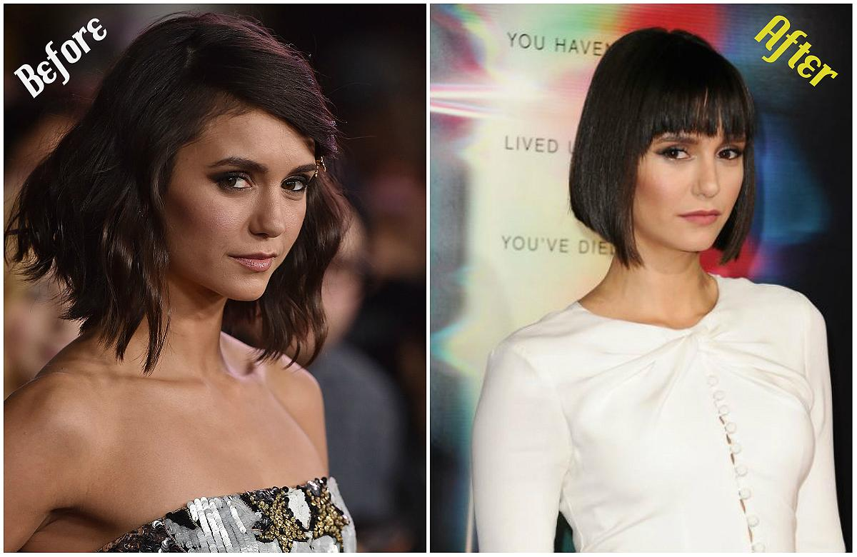 "<p><strong>When: September 28, 2017</strong><br />Nina Dobrev just chopped her locks into a short bob with bangs — the ""nob"" as the Internet has dubbed it. Dobrev showed off the new 'do on <a rel=""nofollow"" href=""https://www.instagram.com/p/BZlbNgblbnl/?taken-by=nina"">Instagram</a> with the caption, ""World meet Bob. Bob… world."" But her fans are divided over the shorter 'do:<br />""YOU'RE PERFECT! Ahhhh, omg wow! Just when I thought you couldn't get more gorgeous!"" one fan gushed on Instagram. However, others prefer ""The Vampire Diaries"" actress with slightly longer locks: ""You look beautiful but can you please stop cutting your hair, I miss the long hair."" Are you in love with Nina's new look or do you prefer her with slightly longer locks? <em>(Photo: Getty)</em> </p>"