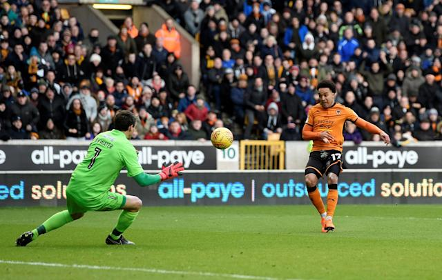 "Soccer Football - Championship - Wolverhampton Wanderers vs Burton Albion - Molineux Stadium, Wolverhampton, Britain - March 17, 2018 Wolves' Helder Costa scores their first goal Action Images/Alan Walter EDITORIAL USE ONLY. No use with unauthorized audio, video, data, fixture lists, club/league logos or ""live"" services. Online in-match use limited to 75 images, no video emulation. No use in betting, games or single club/league/player publications. Please contact your account representative for further details."