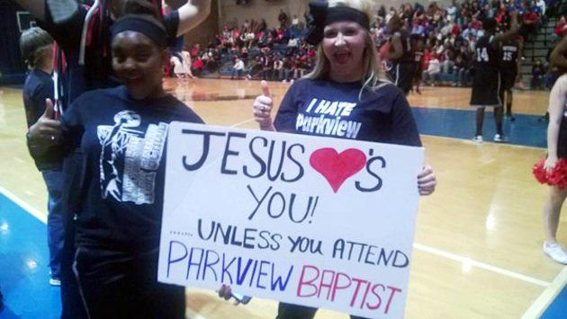 Not a college game but these students from Baton Rouge (La.) Patterson High got in trouble for this sign aimed at a rival Baptist high school.