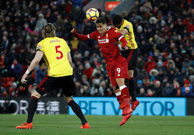 "Soccer Football - Premier League - Liverpool vs Watford - Anfield, Liverpool, Britain - March 17, 2018 Liverpool's Roberto Firmino in action REUTERS/Phil Noble EDITORIAL USE ONLY. No use with unauthorized audio, video, data, fixture lists, club/league logos or ""live"" services. Online in-match use limited to 75 images, no video emulation. No use in betting, games or single club/league/player publications. Please contact your account representative for further details."