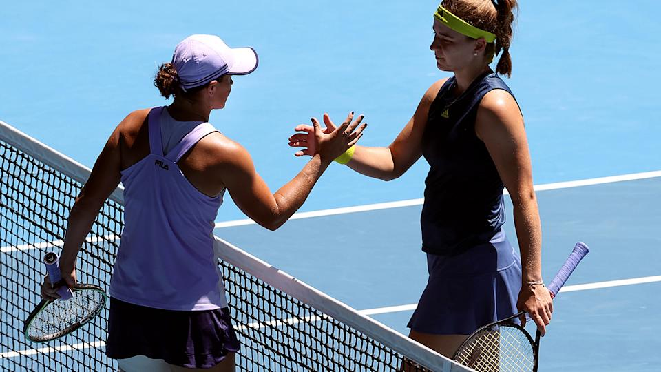 Ash Barty and Karolina Muchova, pictured here after their Australian Open quarter-final.