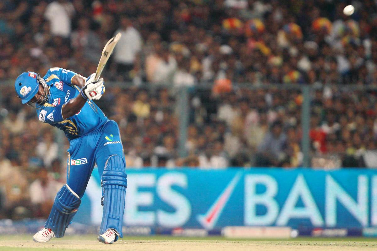 Dwayne Smith hits the second consecutive six of the innings during match 33 of the Pepsi Indian Premier League between The Kolkata Knight Riders and The Mumbai Indians held at Eden Gardens Stadium, Kolkata on the 24th April 2013. (BCCI)