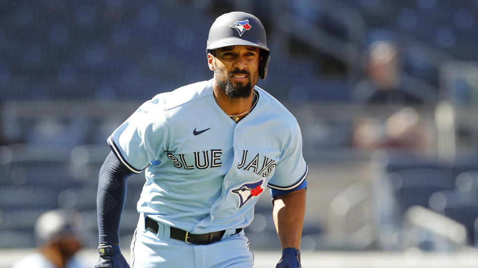 NEW YORK, NEW YORK - MAY 27: (NEW YORK DAILIES OUT)  Marcus Semien #10 of the Toronto Blue Jays in action against the Toronto Blue Jays at Yankee Stadium on May 27, 2021 in New York City. The Blue Jays defeated the Yankees 2-0. (Photo by Jim McIsaac/Getty Images)