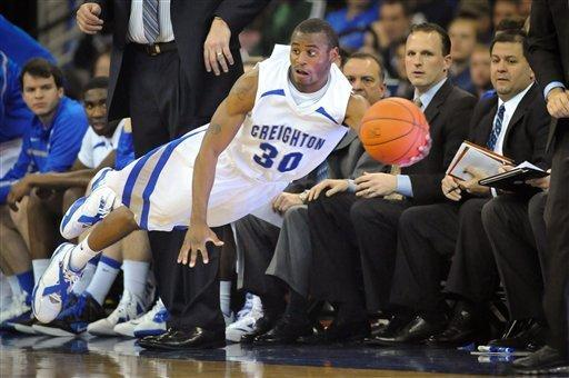 Creighton's Antoine Young tries to save a steal from going out of bounds during their NCAA basketball game against Northern Iowa, Tuesday Jan 10, 2012, in Omaha, Neb. (AP Photo/Dave Weaver)