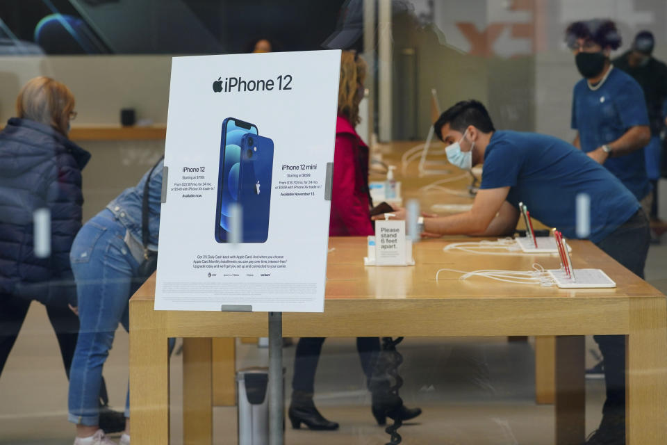 Photo by: John Nacion/STAR MAX/IPx 2020 10/27/20 A view of an Apple Iphone 12 advertisement inside an Apple Store in Lincoln Center. New York City continues Phase 4 of re-opening following restrictions imposed to slow the spread of coronavirus on October 27, 2020 in New York City. The fourth phase allows outdoor arts and entertainment, sporting events without fans and media production.