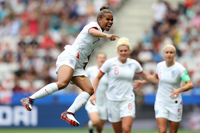 Nikita Parris of England celebrates after scoring her team's first goal during the 2019 FIFA Women's World Cup France group D match between England and Scotland at Stade de Nice on June 09, 2019 in Nice, France. (Photo by Hannah Peters - FIFA/FIFA via Getty Images)