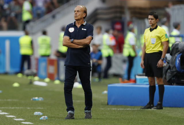 Nigeria head coach Gernot Rohr watches his team during the group D match between Nigeria and Iceland at the 2018 soccer World Cup in the Volgograd Arena in Volgograd, Russia, Friday, June 22, 2018. (AP Photo/Darko Vojinovic)
