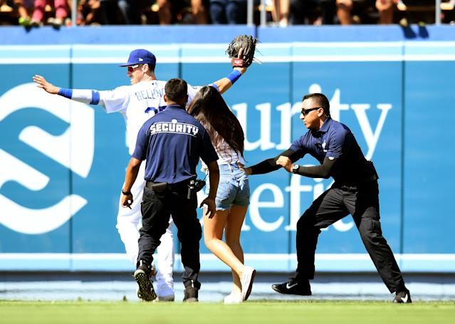 Two fans have now tried to hug Cody Bellinger on the field during games, and he's worried it could become a trend. (Photo by Harry How/Getty Images)