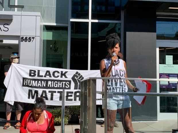 Bowden speaks during a Black Lives Matter rally in Halifax. She says she's hopeful that the next generation will help make real change.