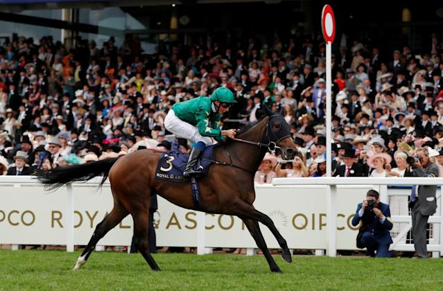Horse Racing - Royal Ascot - Ascot Racecourse, Ascot, Britain - June 20, 2018 Aljazzi ridden by William Buick wins the 3.40 Duke Of Cambridge Stakes Action Images via Reuters/Paul Childs