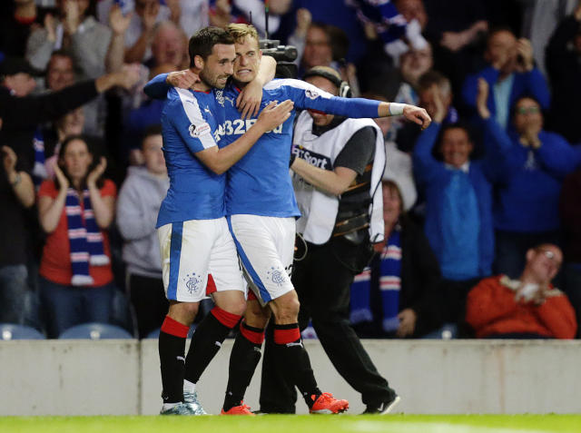 Football - Rangers v St Mirren - Ladbrokes Scottish Championship - Ibrox Stadium - 7/8/15 Rangers' Dean Shiels (R) celebrates scoring their third goal Action Images via Reuters / Graham Stuart Livepic EDITORIAL USE ONLY.