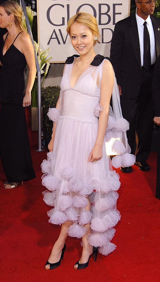 "For some reason, the frou frou dress that Rinko Kikuchi donned at last year's Golden Globes reminds us of a french poodle. George Pimentel/<a href=""http://www.wireimage.com"" target=""new"">WireImage.com</a> - January 15, 2007"